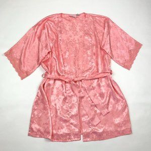 Vintage Floral Silky Lace Robe Rose Print Peach